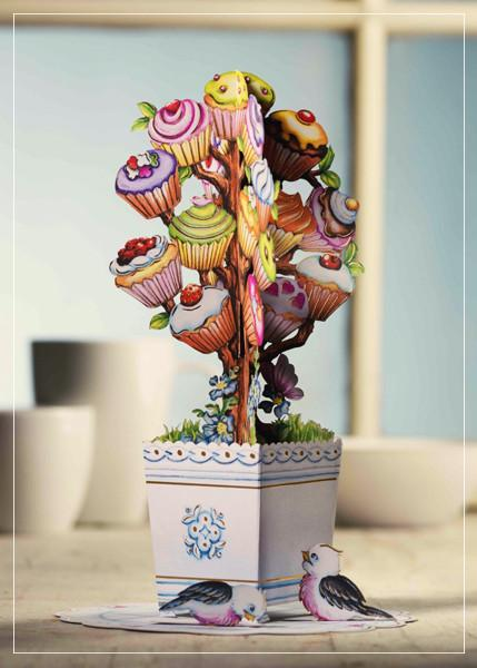 Cup cake tree - greeting card