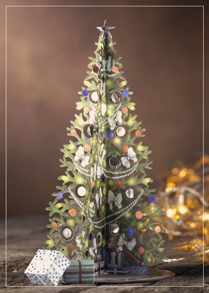Large tree with white bows - christmas greeting card