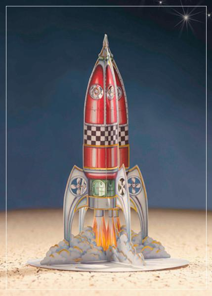 3D greeting card with red rocket